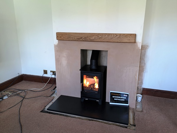 Snug 5 Multi fuel stove installation near Langport, Somerset.