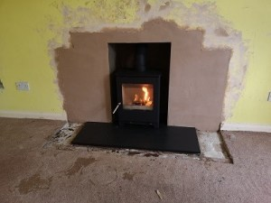 Stove installation and fireplace enlargement in Yeovil.