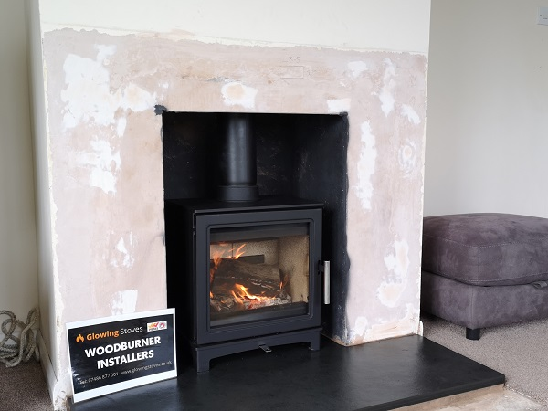 Wood stove and slate hearth installation in Wiveliscombe, Somerset.
