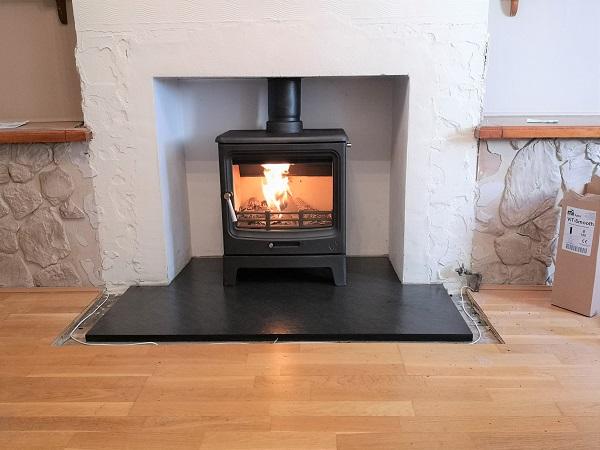 Multi-fuel stove installation in Milverton, Somerset.