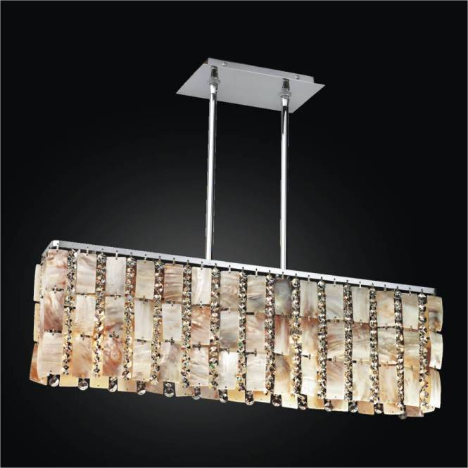 Oyster Shell Chandelier Rectangular Tropical Paradise 632 By Glow Lighting