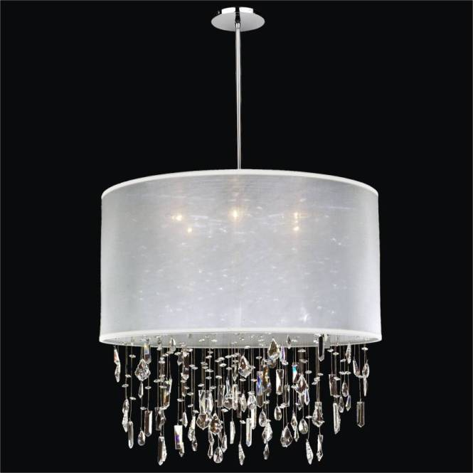 Large Drum Shade Chandelier Crystal Drop Around Town 005 By Glow Lighting