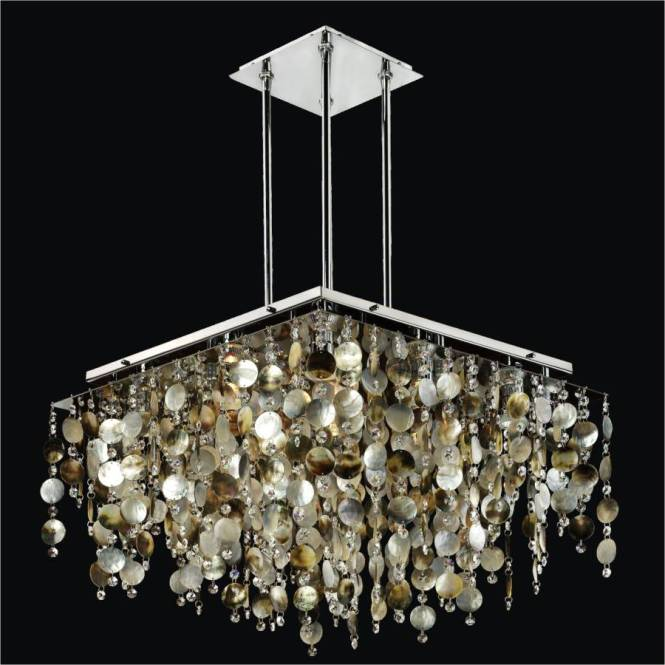 Mother Of Pearl Shell Chandelier And Crystal Cityscape 598p By Glow Lighting