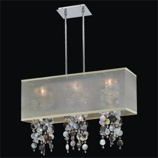 Mother Of Pearl Chandelier Rectangular Shade Omni 627p By Glow Lighting