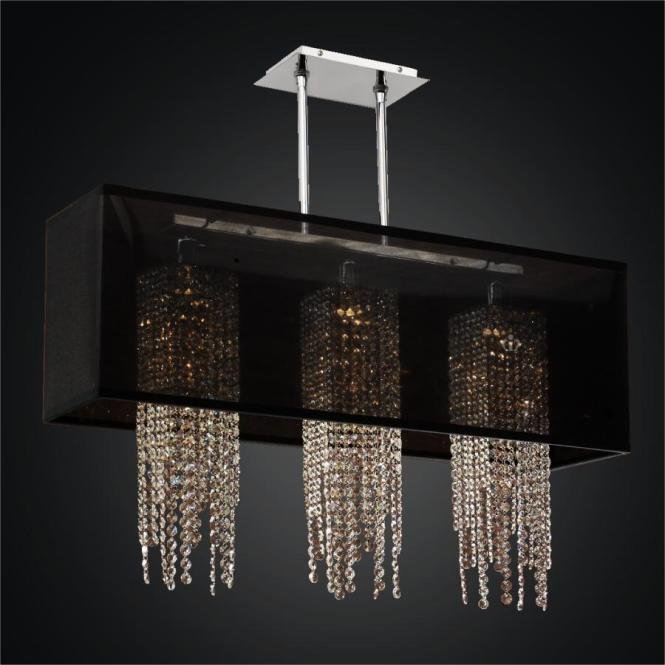 Rectangular Shade Chandelier With Crystal Strands Omni 627a By Glow Lighting