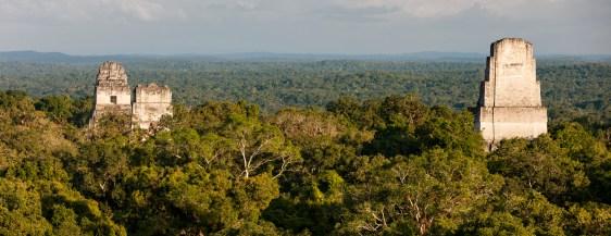 Panoramic view of Mayan pyramids at Tikal, Guatemala