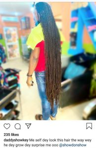 Daddy Showkey Finally Shows Off Full Length Of His Hair, You Won't Believe How Long It Is (Photo)