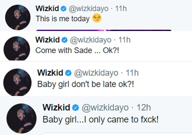 """Wizkid Breaks The Internet With """"Raunc#y Tweets"""" and """"Nudde Photos"""" Of A Mysterious Lady (Photos)"""