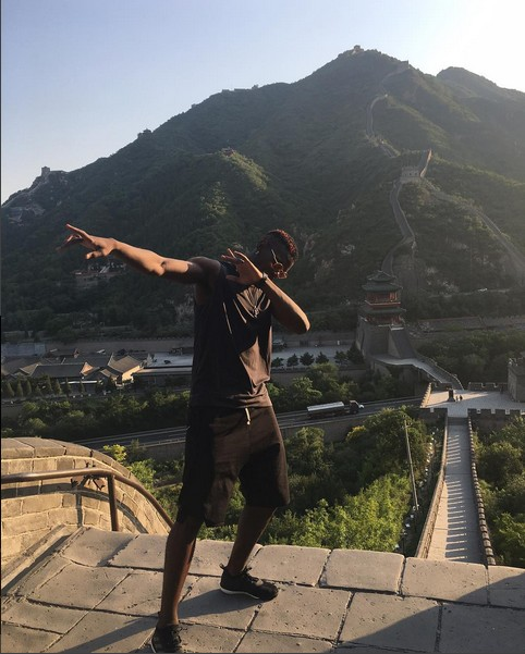 Football Star, Paul Pogba Dabs On The Great Wall Of China (Photos)