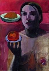 Paula Modersohn-Becker, Halbakt einer Italienerin mit Teller in der erhobenen Hand, 1906, Privatbesitz