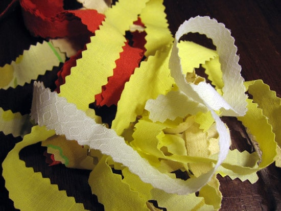This homemade ribbon is a double win. I spent the afternoon making ribbon and, it put a little dent in the ol' scrap bit. AND I'm no longer a slave to storebought ribbon! Hurrah!