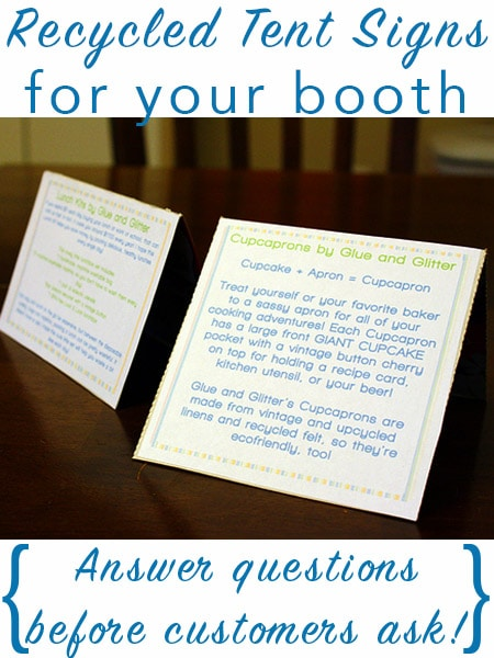 I've got no problem answering questions, but it makes things much easier for shoppers if they can see a bit about your work at a glance. Some shyer folks might not want to ask questions, and that could cost you a sale! These simple little tent signs do the trick, and they're cheap and easy to make, too!