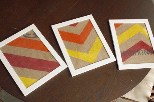 Burlap Crafts: Chevron Wall Art