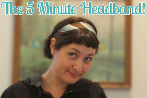No, for real. This necktie headband takes 5 minutes to make, unless you're a speedy seamstress. I have heard that it takes some people less than 5 minutes.
