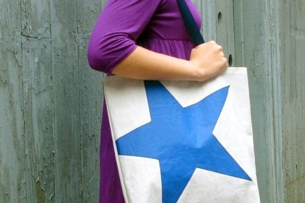 recycled beach tote bag made from a sail