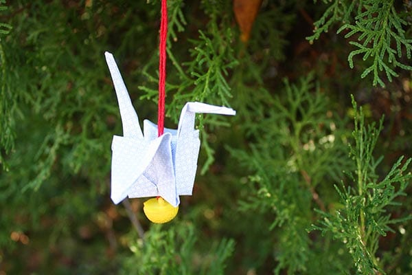 flying paper crane ornament