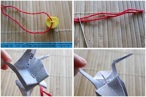 stringing your paper crane ornament