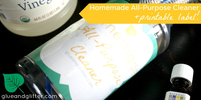 Get my 2-ingredient recipe for homemade all purpose cleaner plus a free printable label.