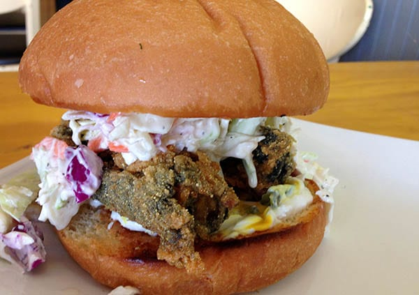 Go Vegetarian Restaurant Fried 'Fish' Sandwich with Coleslaw