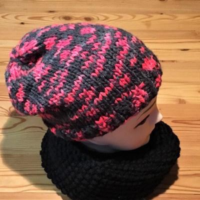 mütze schwarz neonrot