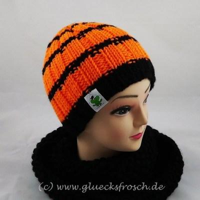 Mütze orange schwarz