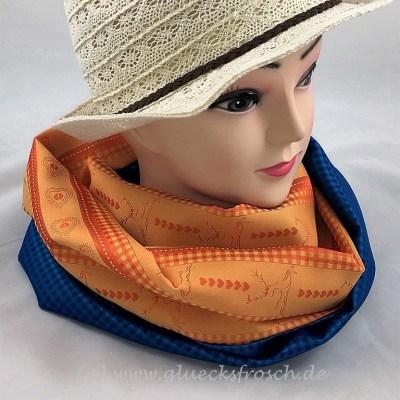 Trachtenschal blau orange Hirsch
