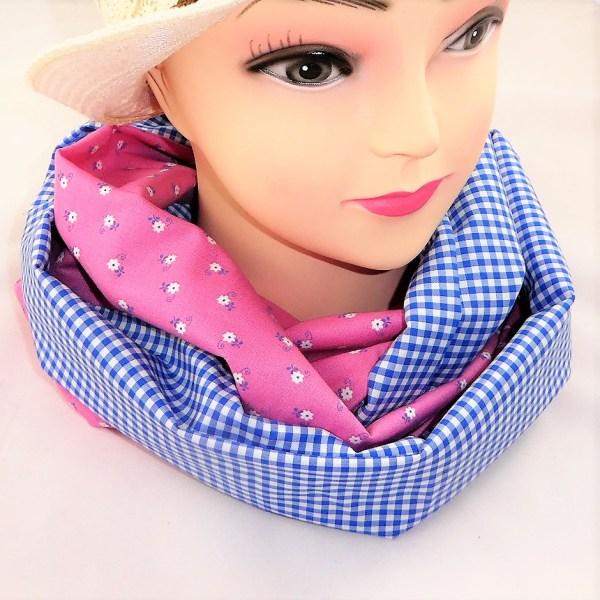 Schlauchschal rosa blau karo