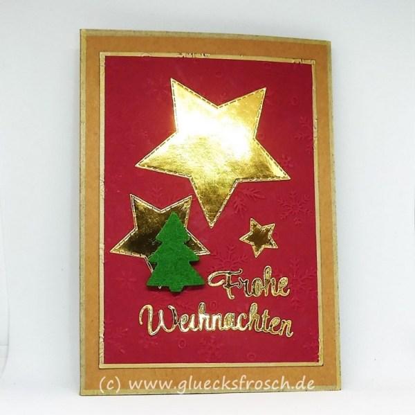 Weihnachtskarte, Kraftpapier, Sterne