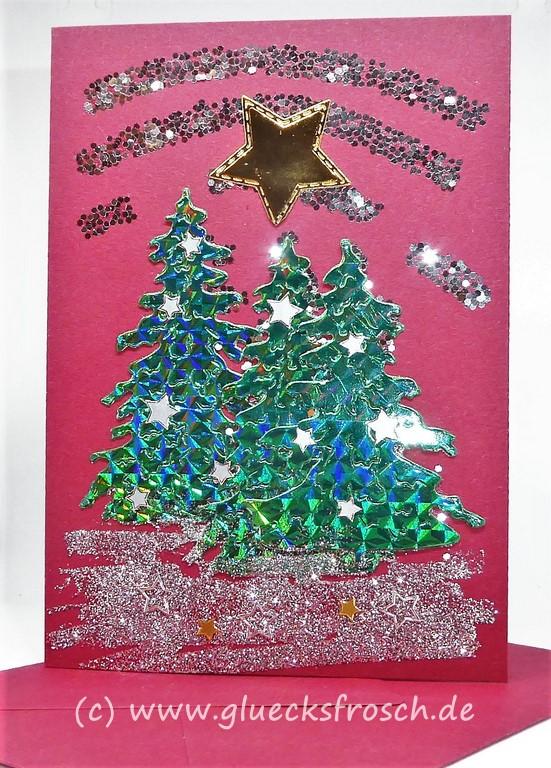 rote Weihnachtkarte mit Baum
