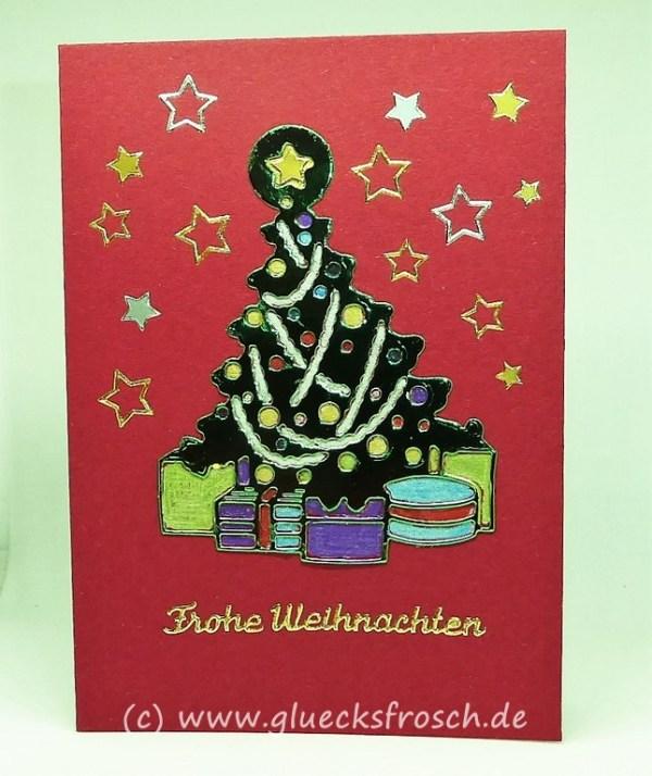 rote Weihnachtskarte mit Baum
