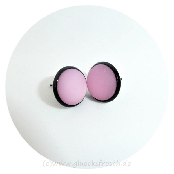 Ohrschmuck rosa Polaris, schwarze Fassung