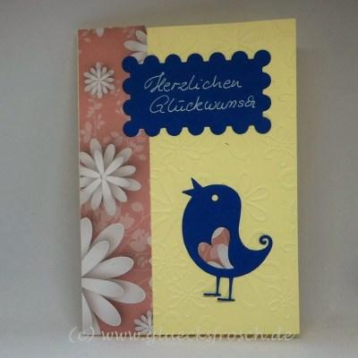 karte blauer vogel