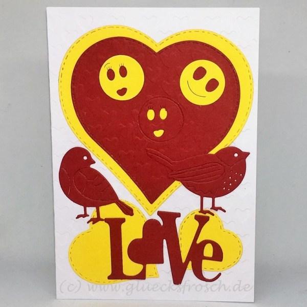 Karte rot gelb weiß LOVE