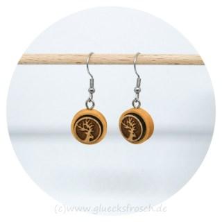 Ohrhänger aus Holz mit Hirsch Glücksfrosch