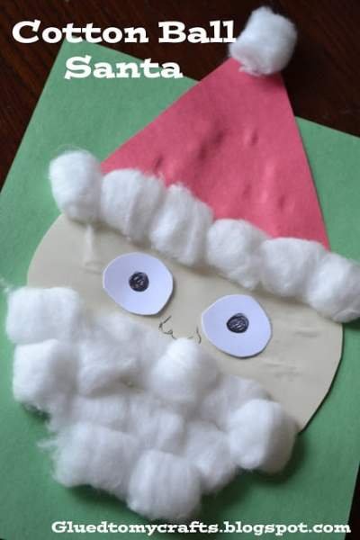 Cotton Ball Snowman Beard - Toddler Winter Kid Craft Idea