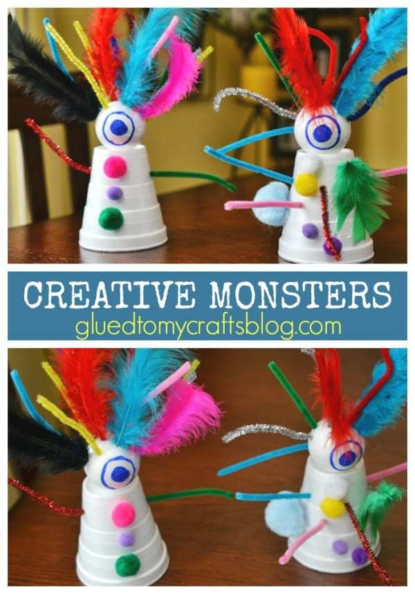 Styrofoam Cup Creative Monsters {Kid Craft}