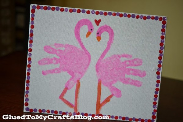 Handprint Flamingo Keepsake Canvas - Glued To My Crafts