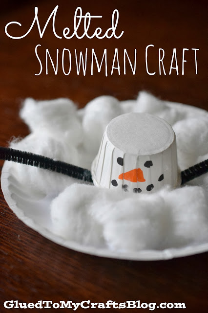 Cotton Ball Melted Snowman {Kid Craft}