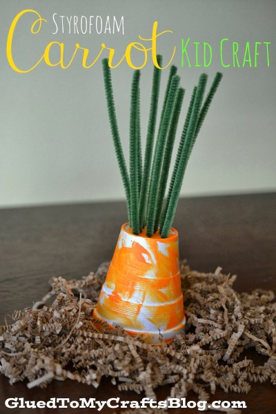 Styrofoam Cup Carrot - Spring Kid Craft Idea