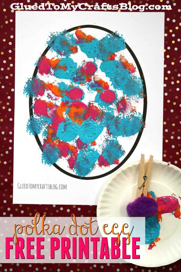 Pom Pom Polka Dot Eggs {Kid Craft w/free printable