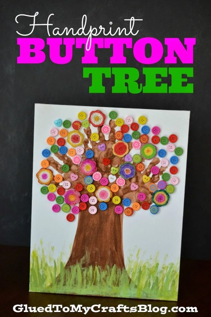 Handprint Button Tree {Kid Craft}
