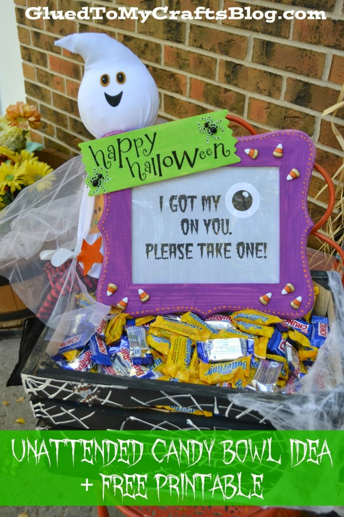 unattended halloween candy bowl idea free printable
