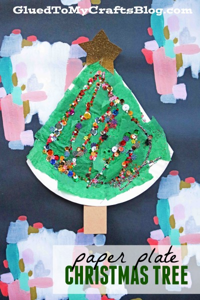 Sequined Paper Plate Christmas Tree {Kid Craft}
