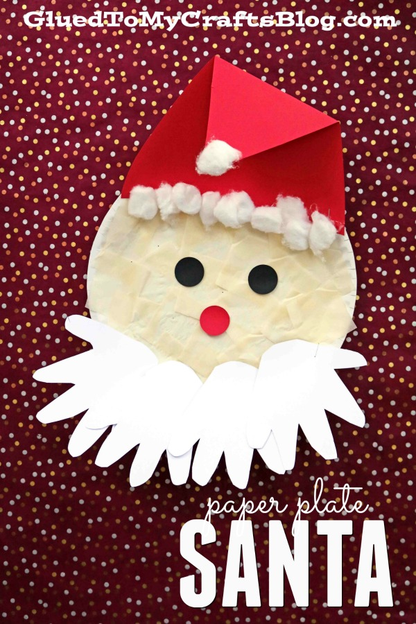 jolly santa paper plate craft paper plate santa kid craft 6859