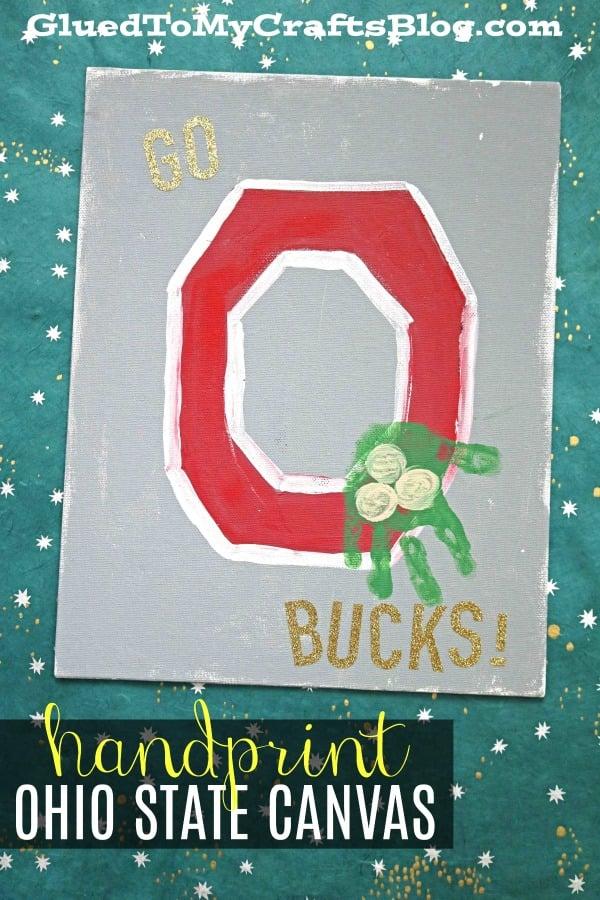 Handprint Ohio State Buckeye Canvas