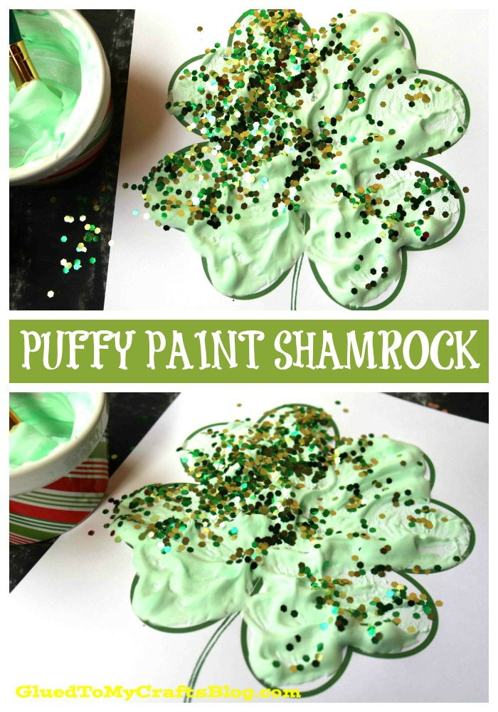 Puffy Paint Shamrock - Kid Craft Idea + Free Printable