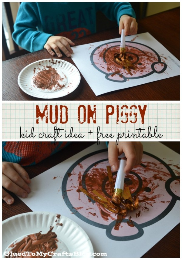 Mud On Piggy - Noisemaker Painting + Free Printable