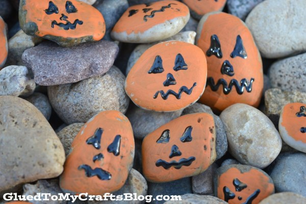 Jack-O-Lantern Rock Painting - Kid Craft