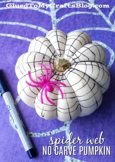 No Carve Sharpie Spider Web Pumpkin