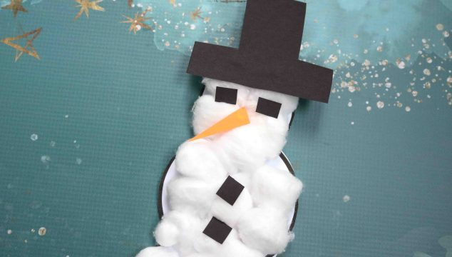 Cotton Ball Snowman Kid Craft w/free printable template